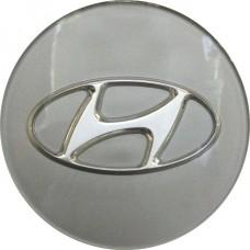 Колпачок (заглушка) литого диска Hyundai Santa Fe, Sonata D55 Silver-chrome