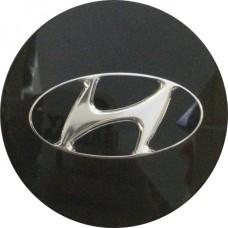 Колпачок (заглушка) литого диска Hyundai Santa Fe, Sonata D55 Black-chrome